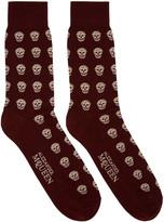 Alexander McQueen Burgundy & Gold Metallic Skulls Socks