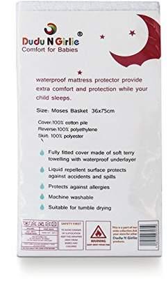 Dudu N Girlie Terry Cotton 100 Percent Waterproof Moses Basket Mattress Protector, 36 cm x 75 cm