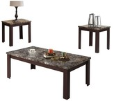 Acme 3 Piece Carly Pack Coffee End Table Set Faux Marble and Cherry