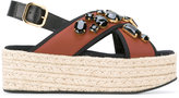 Marni espadrille platform crossover sandals - women - Raffia/Calf Leather/Nylon/glass - 36