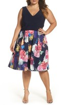 Xscape Evenings Plus Size Women's Mesh Inset Print Skirt Scuba Knit Dress