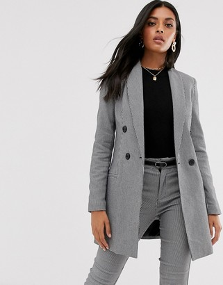 Stradivarius double breasted blazer/dress in dog tooth-Multi