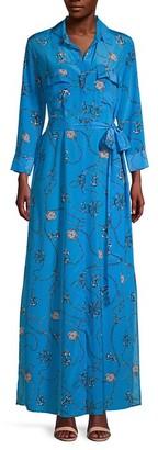 L'Agence Cameron Nautical-Print Silk Maxi Shirtdress