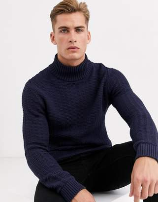 Selected high neck textured sweater in navy