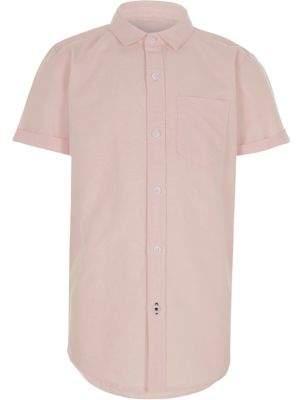 River Island Boys pink short sleeve Oxford shirt