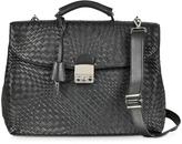 Forzieri Black Woven Leather Business Bag w/Shoulder Strap