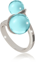 Rebecca Boulevard Stone Rhodium Over Bronze Contrarié Ring w/Hydrothermal Turquoise Stones