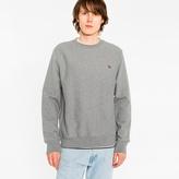 Paul Smith Men's Grey Marl Organic-Cotton Zebra Logo Sweatshirt
