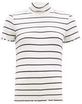 A.P.C. Striped Roll-neck Rib-knitted Top - Womens - Navy White