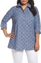 Foxcroft Plus Size Women's Jade Diamond Clip Dot Jacquard Shirt