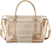 Elaine Turner Designs Ros Woven Fabric/Metallic Leather Satchel Bag