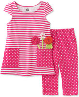 Kids Headquarters 2-Pc. Striped Dot Tunic & Capri Leggings Set, Toddler & Little Girls (2T-6X)
