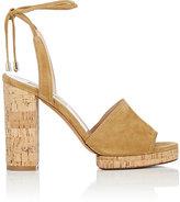 Valentino Women's Erin B. Suede Ankle-Tie Sandals-TAN