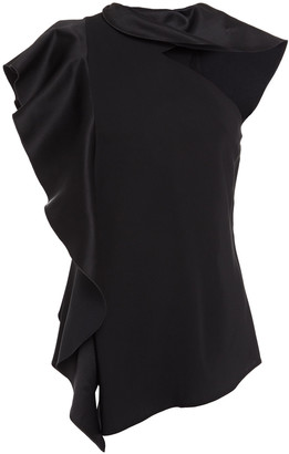 Oscar de la Renta Cutout Ruffled Satin-crepe And Stretch-jersey Top