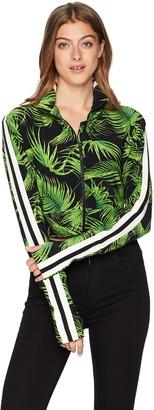 Norma Kamali Women's Cropped Side Stripe Turtle Jacket