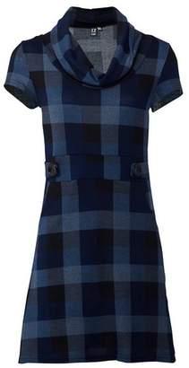 Dorothy Perkins Womens *Izabel London Blue Checked Knit Shift Dress, Blue