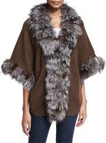 Adrienne Landau Fur-Trim Knit Kimono Sweater, Brown/Silver