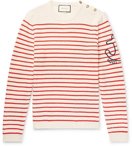 Gucci Embroidered Striped Cotton And Cashmere-Blend Sweater