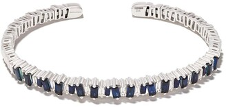 Suzanne Kalan 18kt white gold Flexible blue sapphire and diamond cuff
