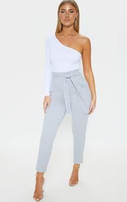 PrettyLittleThing Grey Contrast Stitch Tie Waist Skinny Trouser