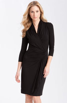 Karen Kane Petite Women's Three-Quarter Sleeve Cascade Faux Wrap Dress