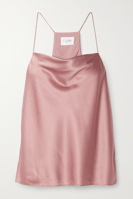 CAMI NYC The Aggie Draped Silk-blend Charmeuse Camisole - Antique rose