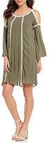 Cupio Cold Shoulder Crochet Inset Dress