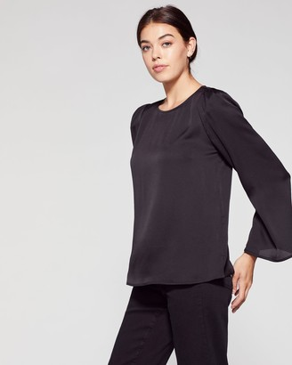 Vince Camuto Satin Bell-sleeve Blouse