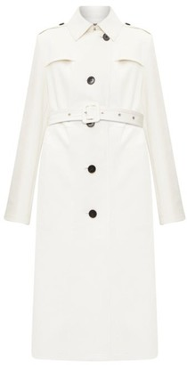 Jil Sander Single-breasted Leather Trench Coat - Womens - Ivory