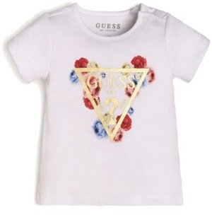 GUESS Girls Floral Logo Short Sleeve T-shirt