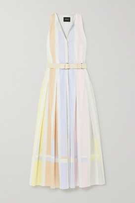Akris Belted Striped Cotton Midi Shirt Dress - Yellow