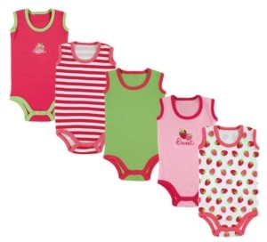 Luvable Friends Baby Girls and Boys Crab Sleeveless Bodysuits, Pack of 5