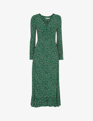 Whistles Leopard-print crepe midi dress