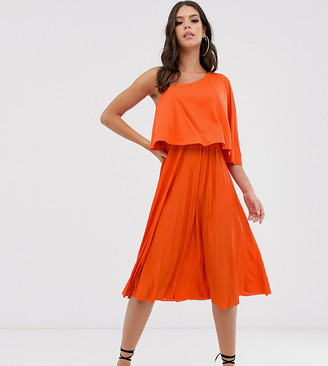 Asos Tall DESIGN Tall one shoulder pleated crop top midi dress