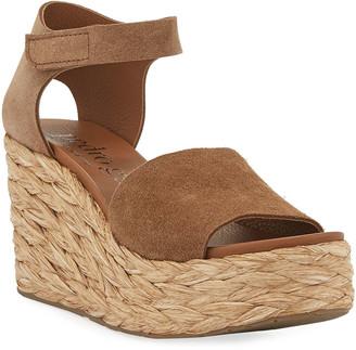 Pedro Garcia Dory Suede Low-Wedge Espadrille Sandals