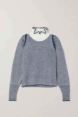 See by Chloe Ruffled Striped Knitted Sweater - Blue