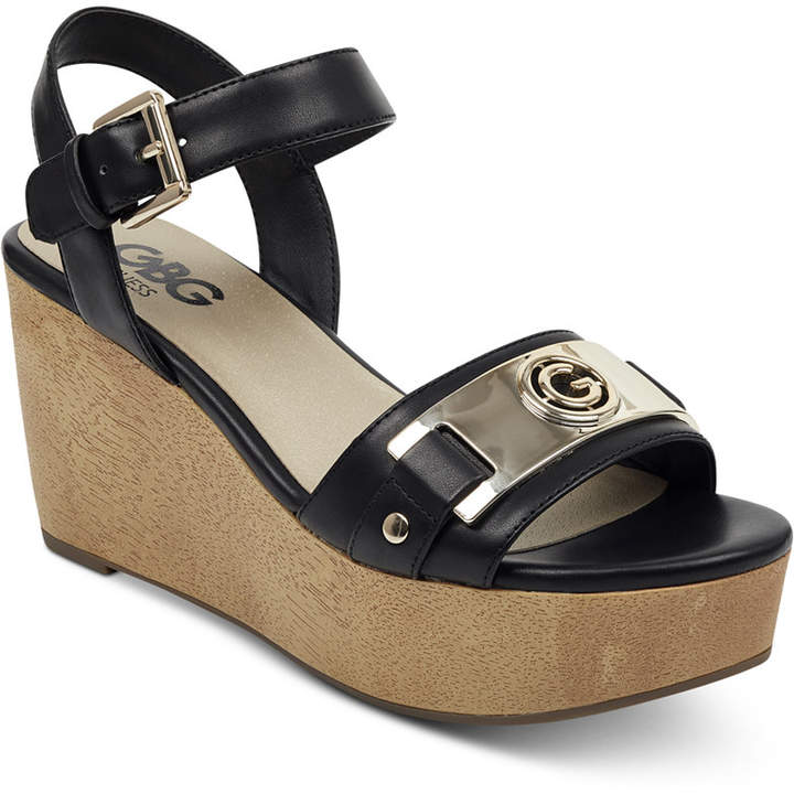 d3aacad450 Guess Black Wedge Sandals - ShopStyle