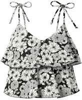 Lisa Marie Fernandez Imaan Tiered Floral-print Stretch-crepe Bikini Top