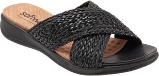 SoftWalk 'Tillman' Leather Cross Strap Slide Sandal