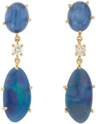 Jan Leslie 18k Bespoke 2-Tier Tribal Luxury Earrings w/ Kyanite, Fire Opal Triplet & Diamonds