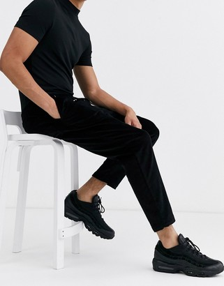 New Look pull on cord trousers in black