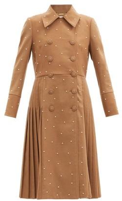 Erdem Murray Pearl-embellished Wool-blend Coat - Beige