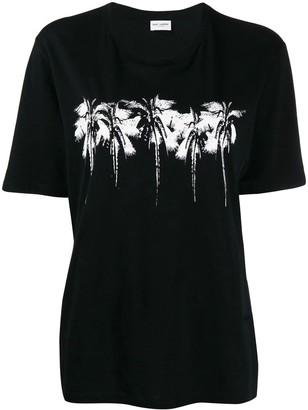 Saint Laurent Black And White Palm Trees T-shirt