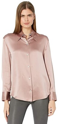 Vince Shaped Collar Blouse (Mauve Orchid) Women's Clothing