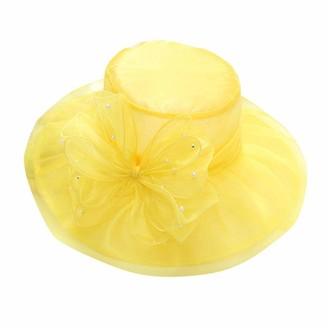 ASHOP Womens Kentucky Derby Hats Wide Brim Wedding Church Organza Sun Hat (Yellow)
