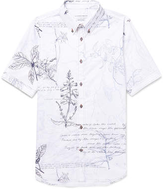 Alexander McQueen Slim-Fit Button-Down Collar Embroidered Printed Cotton-Poplin Shirt