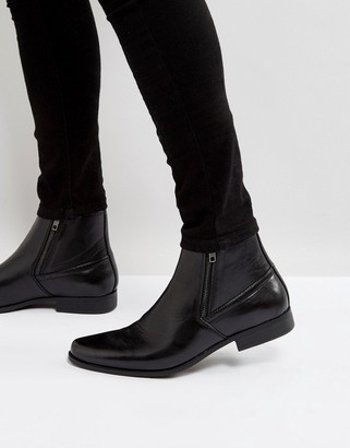 ASOS DESIGN chelsea boots in black faux leather with zips