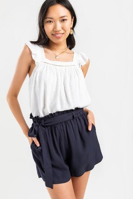 francesca's Molly Front Tie Paperbag Shorts - Dark