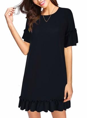 Moyabo Women's Short Sleeve Round Neck Ruffle Trim Hem Party Summer Wedding Guest Dress Black X-Large