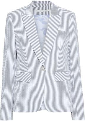 Veronica Beard Cutaway Dickey Striped Cotton-blend Seersucker Blazer